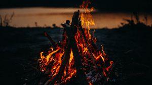 Preview wallpaper bonfire, fire, flame, dark, dusk