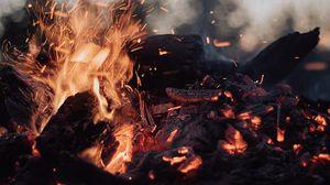 Preview wallpaper bonfire, fire, sparks, ash, coals