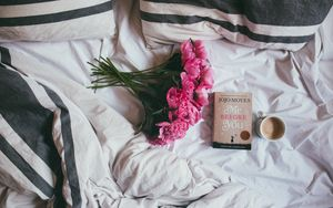 Preview wallpaper book, flowers, coffee, bed, mood