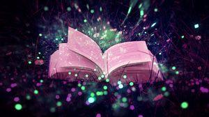 Preview wallpaper book, glare, sparkles, grass, magic