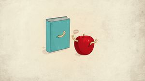 Preview wallpaper book, minimalism, worms, apple