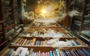 Preview wallpaper books, library, photoshop, shelves, clouds, reading, flight