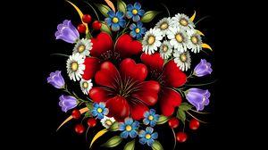 Preview wallpaper bouquet, flowers, art, composition