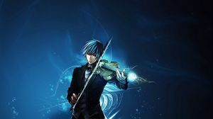 Preview wallpaper boy, brunette, violin, space, sadness