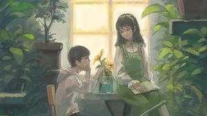 Preview wallpaper boy, girl, art, greenhouse, flowers, window