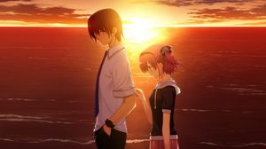 Preview wallpaper boy, girl, sad, sunset, sea