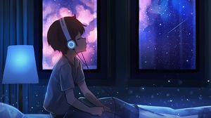 Preview wallpaper boy, night, headphones, starry sky, art