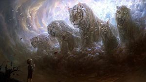 Preview wallpaper boy, predators, cats, grin, fog