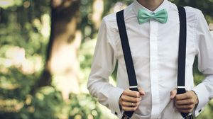 Preview wallpaper boyfriend, bridegroom, attire, suspenders, shirt, bow tie