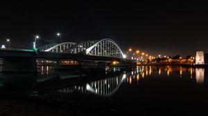Preview wallpaper bridge, architecture, night city, abu dhabi, united arab emirates