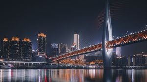 Preview wallpaper bridge, architecture, night city, backlight, chongqing, china