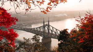Preview wallpaper bridge, autumn, city, citadella, budapest, hungary