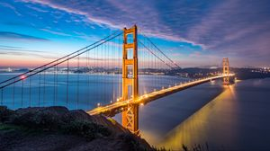 Preview wallpaper bridge, dawn, strait, golden gate, san francisco