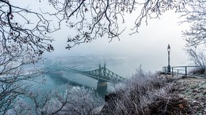 Preview wallpaper bridge, fog, aerial view, branches, frost, snow, winter, budapest, hungary