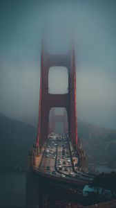 Preview wallpaper bridge, fog, city, movement