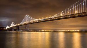 Preview wallpaper bridge, lights, water, reflection, night