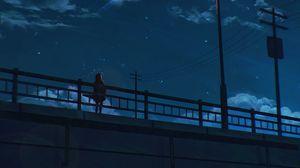 Preview wallpaper bridge, loneliness, art, night, sky, lantern