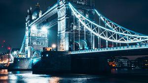 Preview wallpaper bridge, night city, backlight, river, architecture