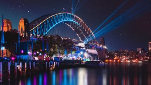 Preview wallpaper bridge, night city, city lights, sydney harbour bridge, sydney, australia