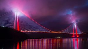 Preview wallpaper bridge, night city, lighting, design, turkey