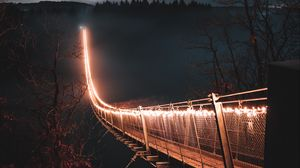 Preview wallpaper bridge, night, fog, trees