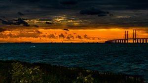 Preview wallpaper bridge, pond, sunset, clouds