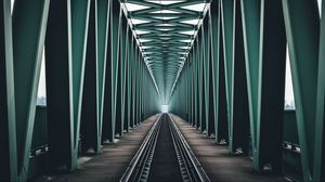 Preview wallpaper bridge, railway, construction, minimalism, symmetry, budapest, hungary