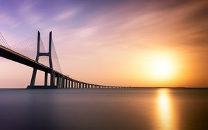 Preview wallpaper bridge, river, lisbon, portugal, minimalism, architecture