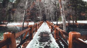 Preview wallpaper bridge, snow, winter, trees, spring