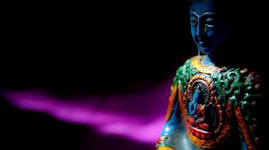 Preview wallpaper buddha, buddhism, meditation, statue, sculpture, shadow, dark
