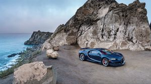 Preview wallpaper bugatti, chiron, blue, side view