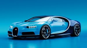 Preview wallpaper bugatti, chiron, side view, blue