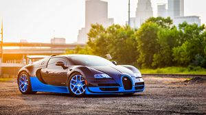 Preview wallpaper bugatti, veyron, grand, blue, side view