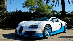 Preview wallpaper bugatti, veyron, vitesse, blue, palm trees