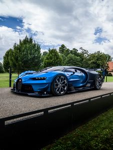 Preview wallpaper bugatti, vision, gran turismo, blue, side view
