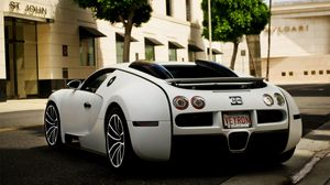 Preview wallpaper bugatti, white, rear view, bumper