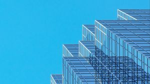Preview wallpaper building, architecture, glass, sky, bottom view, blue