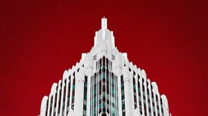 Preview wallpaper building, architecture, minimalism, bottom view, red