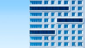 Preview wallpaper building, architecture, sky, minimalism, blue, aesthetic