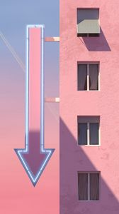 Preview wallpaper building, arrow, pointer, signboard, pink
