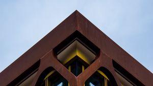 Preview wallpaper building, facade, architecture, corner, grid, windows