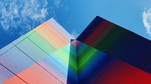 Preview wallpaper building, facade, colorful, bottom view