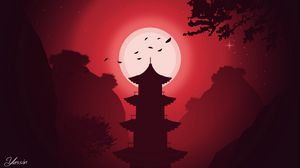 Preview wallpaper building, moon, night, vector, art, red
