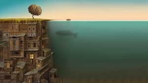 Preview wallpaper building, multi-storey, under water, whale, improvisation, bottom, tree