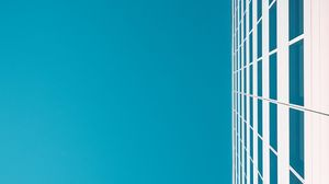 Preview wallpaper building, sky, minimalism, white, blue