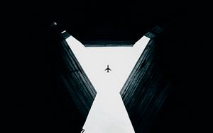 Preview wallpaper plane, bottom view, symmetry, building, sky, gap, walls, dark, high