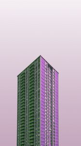 Preview wallpaper building, skyscraper, purple, minimalism, architecture