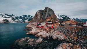 Preview wallpaper buildings, mountains, rest, travel, rocks, lofoten islands, svolvaer, norway