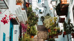 Preview wallpaper buildings, stairs, alleyway, architecture, town