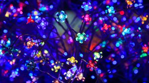 Preview wallpaper bulbs, flowers, neon, light, lighting, glare, bokeh, colorful